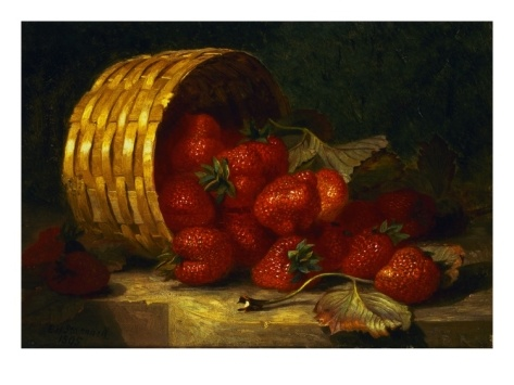 Painting of Strawberries in a Wicker Basket on a Ledge by Eloise Henriet Stannard