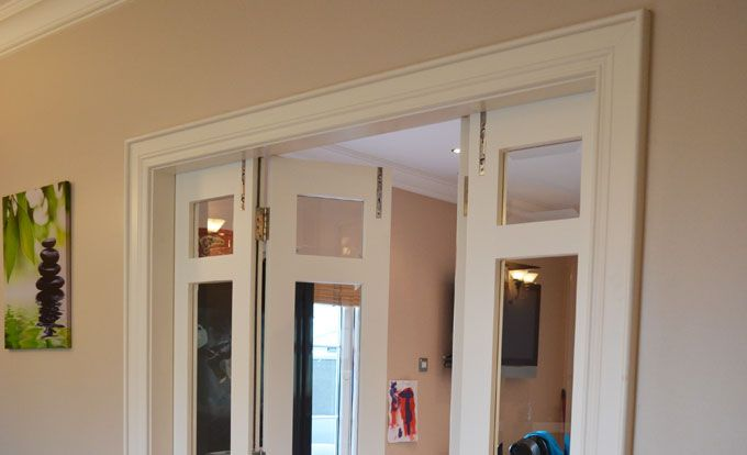 Painted hardwood bi folding doors private client for French accordion doors