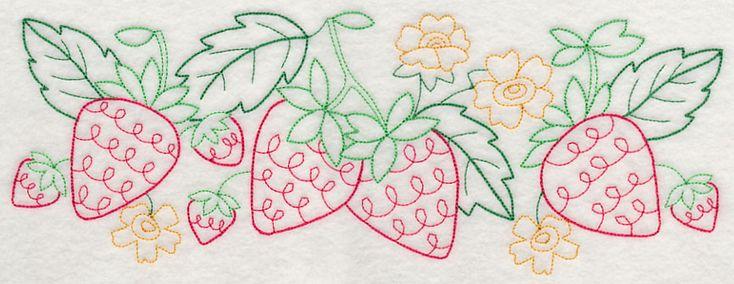 Summer Strawberry Border (Vintage) design (J4442) from www.Emblibrary.com