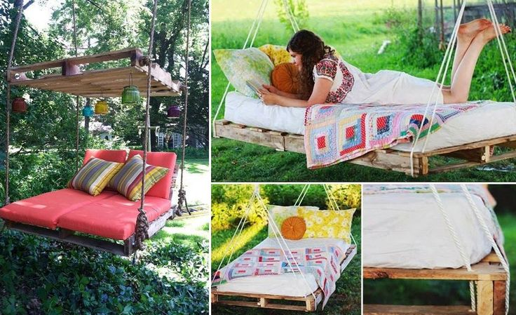 muebles para exteriores DIY - columpio de palet o cama colgante