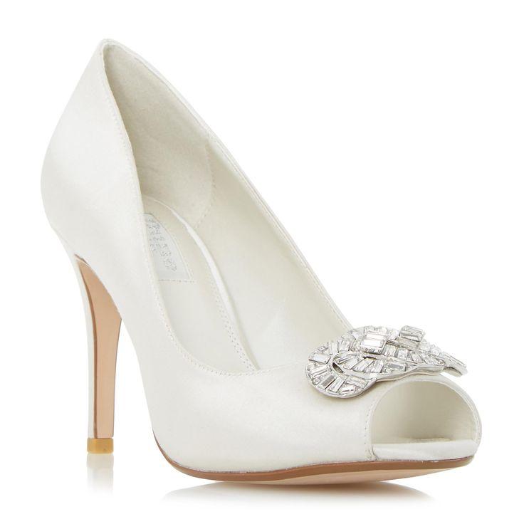 DUNE LADIES DOLLEY - Jewel Trim Peep Toe Court Shoe - ivory | Dune Shoes Online