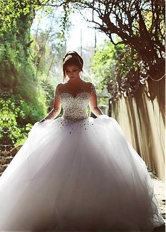 comprar Vestido de novia de lujo Tul Jewel escote del vestido de bola con diamantes de imitación #bridalsale de descuento en Dressilyme.com