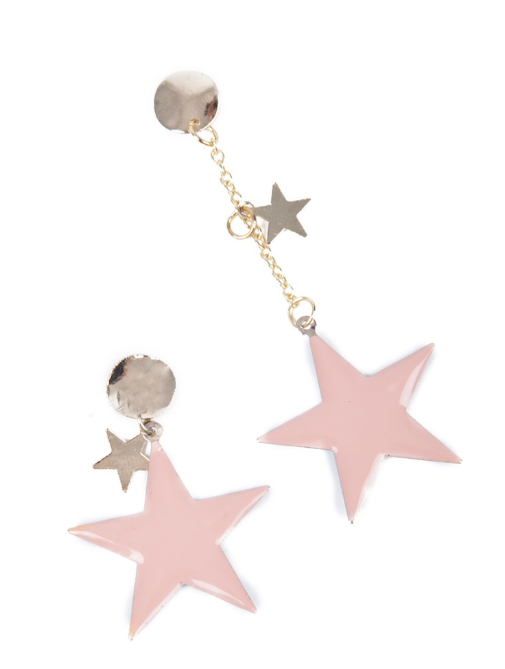 TWO COLOR STAR DROP EARRINGS