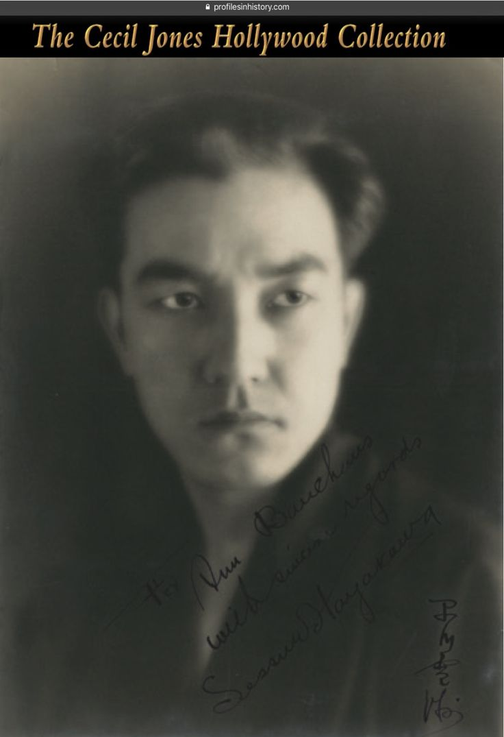 """Sessue Hayakawa - Signed photograph. (ca. 1920s) Vintage original gelatin silver double-weight matte photograph signed in English and Japanese, """"For Ann Bauehaus with sincere regards Sessue Hayakawa"""". NOTE: Sessue Hayakawa was one of the biggest stars in Hollywood during the silent era of the 1910s and 1920s and was best known and nominated as Best Supporting Actor for his portrayal as the Japanese commandant in the classic 1957 movie """"The Bridge on the River Kwai""""."""