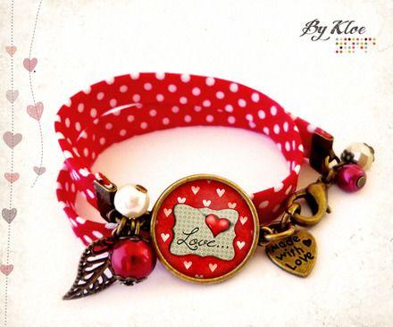 Bracelet liberty cabochon   love   coeurs amour rouge beige