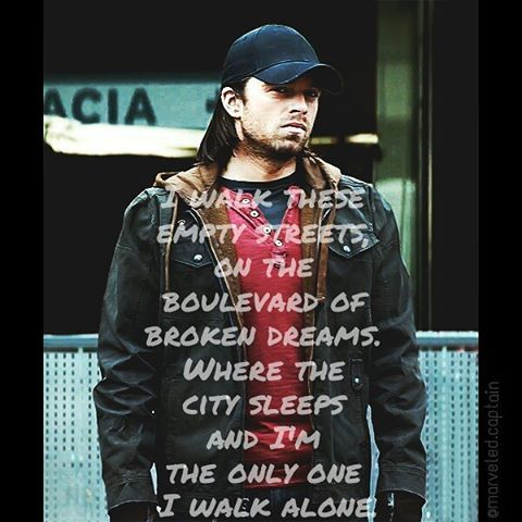 Song: Boulevard of Broken Dreams  Artist: Green Day | | | | Tags: #song#caption#captainamericacivilwar#steverogers#buckybarnes#civilwar#avengers#marvel#marvelcinematicuniverse#sebastianstan#thewintersoldier#baronzemo#scarletwitch#blackwidow#hawkeye#falcon#chrisevans#greenday#boulevardofbrokendreams#ageofultron#vision#warmachine#captainamerica#edit#photo#lyrics#jamesbuchananbarnes