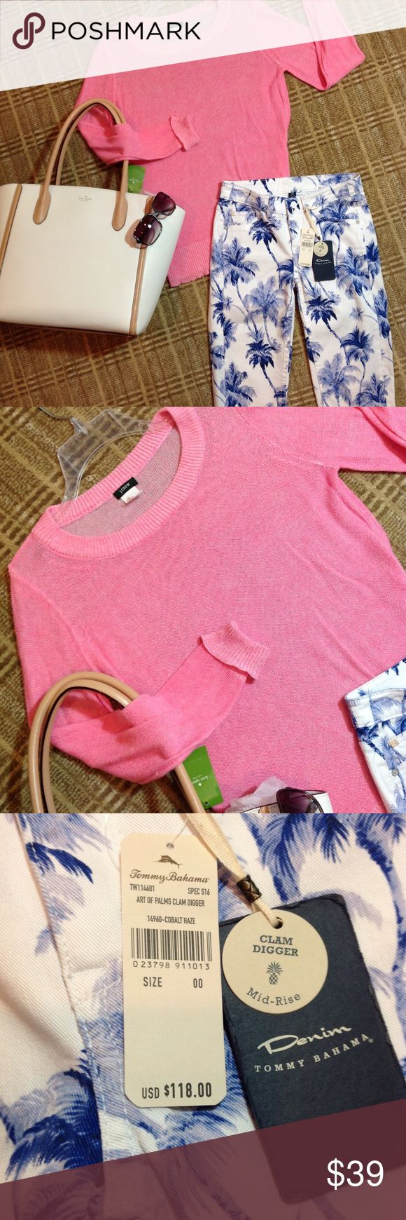 """J Crew Sheer Pink Crew Neck Sweater S Perfect for spring/summer!!! 69% linen. 31% cotton. Easy to wear...just enough structure. Approx 18"""" armpit to armpit. 25.5"""" top of shoulder to hem. Shown with New Tommy Bahama """"Palm"""" clam diggers (00). New Kate Spade white leather tote. Oliver People's """"Anisette"""" Shades!   All also for sale!! J. Crew Sweaters Crew & Scoop Necks"""