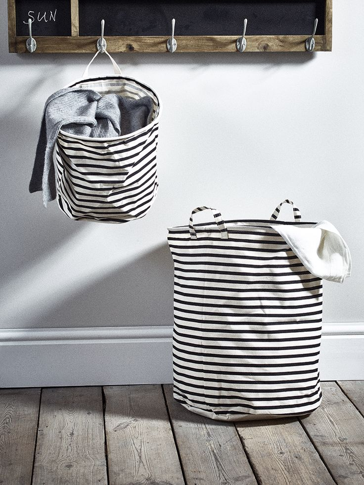 Made from a heavy duty striped canvas with a wipe clean interior, our monochrome striped storage bags include strong canvas handles, ideal for little ones with lots of toys or teenagers laundry. With a strong, flexible band hidden in the top lining, our striped storage bags are strong enough to keep their shape even when empty but also fold flat when not in use.