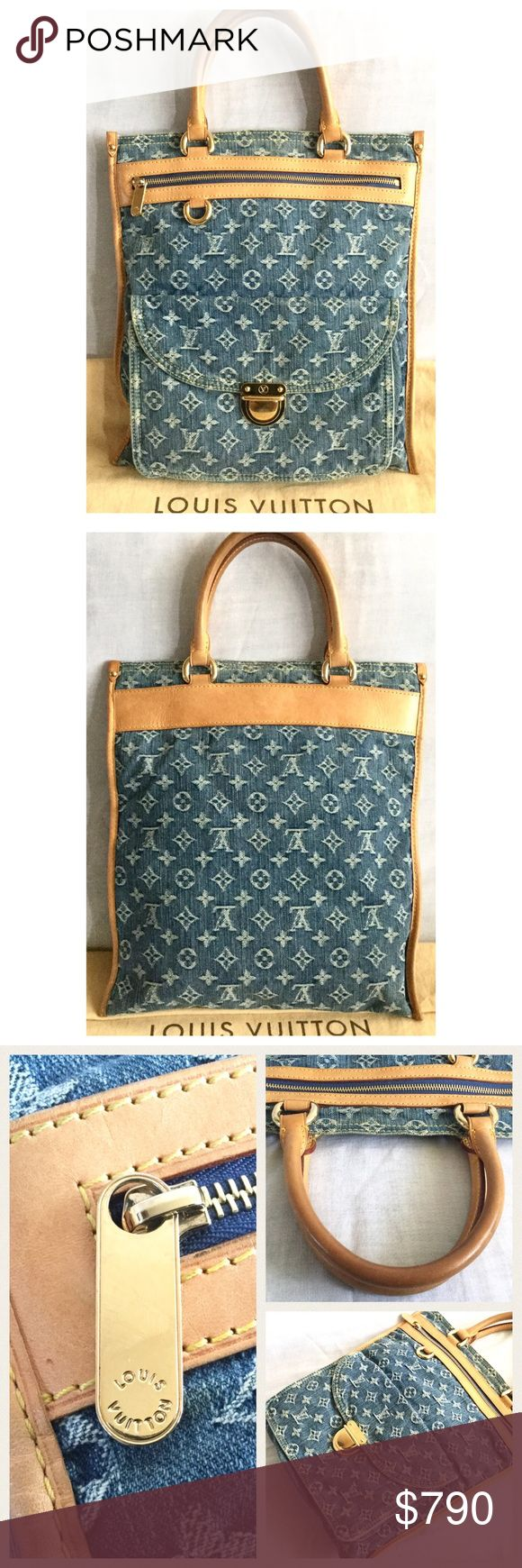 """Louis Vuitton Denim Sac Plat Authentic Louis Vuitton Denim Sac Plat.  14 H x 13"""" W x 3"""" D and 5"""" drop on the dual rolled leather handles.  Open top, zip pocket, flap pocket with push lock, mustard yellow Alcantara lining, interior slot pocket.  In good condition for its age.  The lining has a few very small pen marks. The interior pocket has more ink marks.  Hard to read but I think date code is AS0075 (July 2005).  Includes dust bag, booklet and cards.  No trades. Louis Vuitton Bags"""