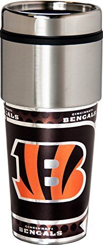 NFL Cincinnati Bengals Sports Team Logo 16 Ounce Stainless Steel Travel Tumbler Metallic Graphics by Great American Products. 16oz stainless steel top tumbler. Plastic inside.