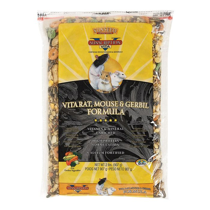 Sunseed Vita Rat, Mouse & Gerbil Formula - 2 lb. http://www.thatpetplace.com/sunseed-vita-rat-mouse-gerbil-formula-2-lb?utm_content=buffer35f49&utm_medium=social&utm_source=pinterest.com&utm_campaign=buffer | Vita Formula Food provides a complete diet for your rat, mouse or gerbil! Full of tasty naturals like peanuts, bananas, and veggies, Vita Formula also includes Vita-Bite Pellets to supplement vitamins & minerals for nutrition and probiotics for digestive health!