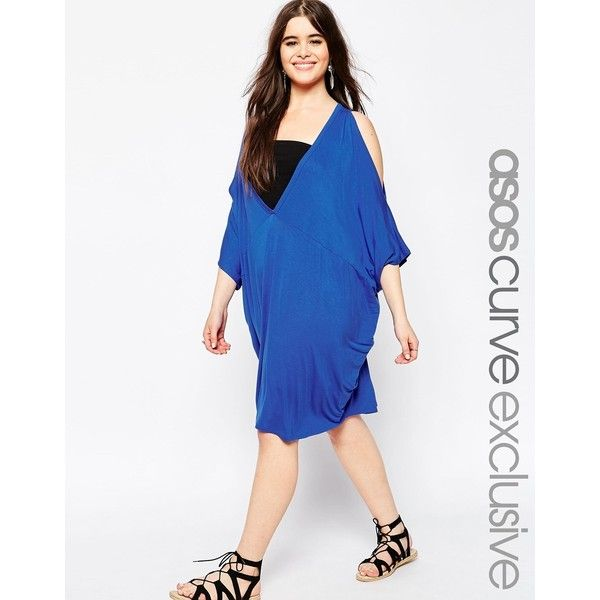 ASOS CURVE V Front Cold Shoulder Beach Cover Up (40 AUD) ❤ liked on Polyvore featuring swimwear, cover-ups, cobalt, plus size, cover up swimwear, plus size beachwear, womens plus size swimwear, womens plus swimwear and plus size swim wear