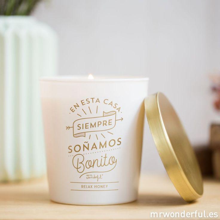 "Vela ""En esta casa siempre soñamos bonito"" #mrwonderfulshop #vela #candle #winter"