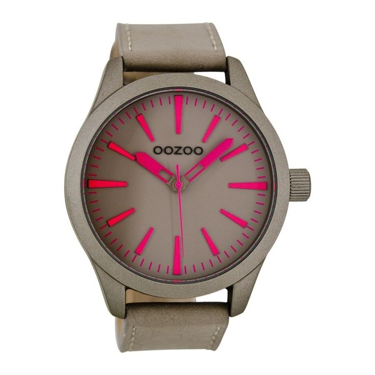 OOZOO Timepieces horloge Taupe/Roze C7031