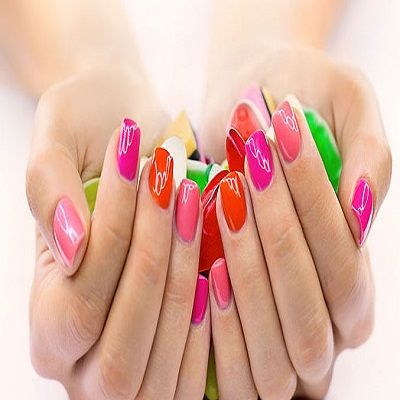 Candy colored Nails- Shiny Pink, Magenta, Red, Orange