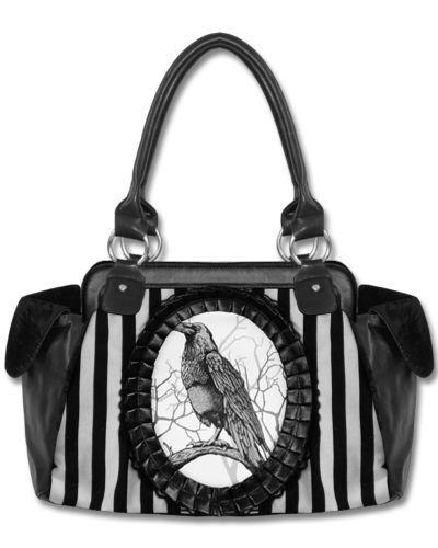 Restyle Black White Stripe Fantasy Raven Crow Cameo Goth Rockabilly Handbag Bag   eBay I NEED THIS IN MY LIFE!