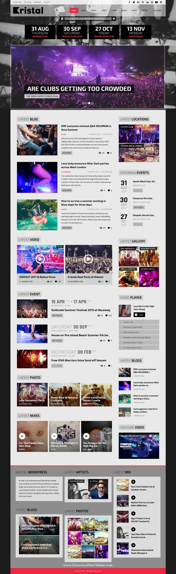 Kristal is clean and modern design 2in1 responsive #WordPress theme for #events, music, radio, #artists and #entertainment website download now..