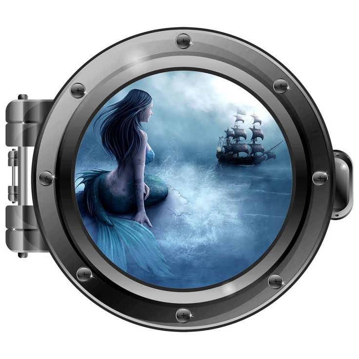 Adorn your walls with the misty view of the sea and the waiting mermaid by this porthole wall decal by Engrave.