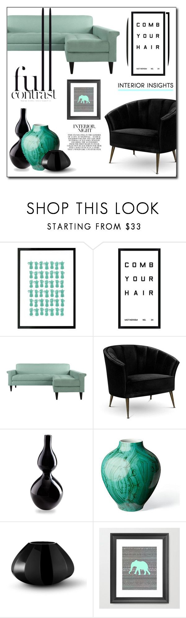 """Black & Mint"" by gracecar3 ❤ liked on Polyvore featuring interior, interiors, interior design, home, home decor, interior decorating, Lu West, Pottery Barn, Arca and Cyan Design"