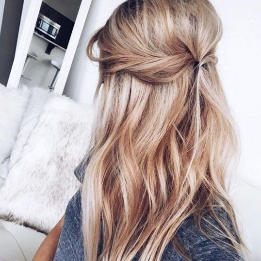 the clean prism honey blonde hair half up half down twist beachy waves vickys style hair