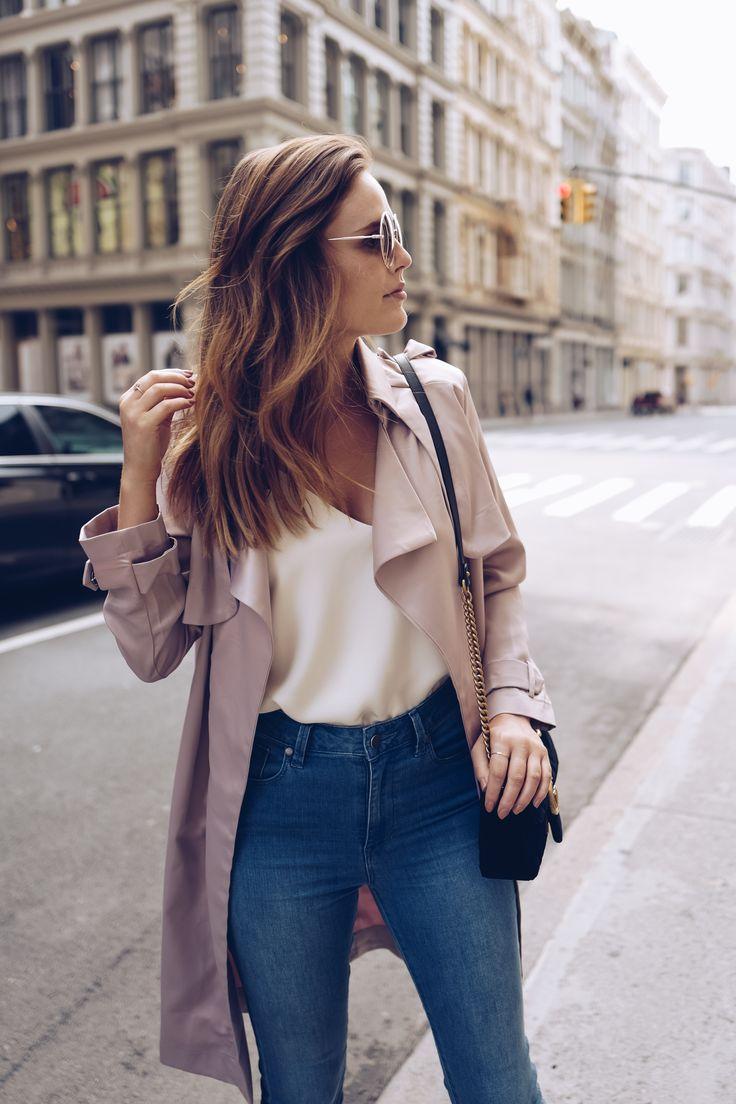 blush silk duster coat