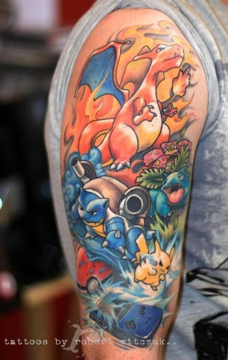 Pokemon tattoo. Charizard, pikachu, blastoise, venasaur, and a game boy all in one! Best sleeve I've seen!