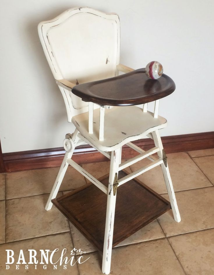 Refinished antique old wooden high chair by Barn Chic Designs. Two toned refurbished high chair in Dark walnut stain and Annie Sloan Chalk Paint. #barnchic #barnchicdesigns #refinished #furniture