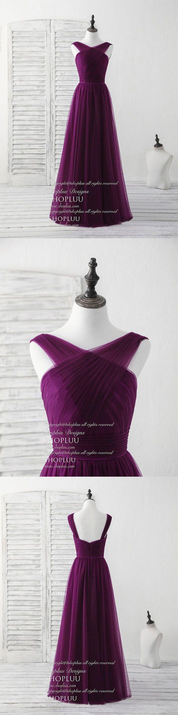 Purple v neck tulle long prom dress, tulle bridesmaid dress