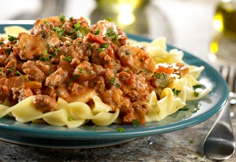 This kicked-up stroganoff gets a burst of great flavor from picante sauce...it's ready in just 40 minutes, but it's so good, it tastes like you've been cooking all day!