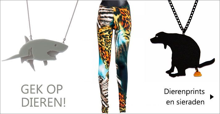 We zijn gek op dieren! Dieren prints, sieraden met dieren, katten, honden, vossen, haaien, uilen ... http://www.designers-fashion.com/dierenprint
