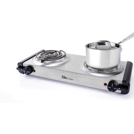 Elite Cuisine Edb 302ss Electric Stainless Steel Double Burner Steel Stainless Steel Plates