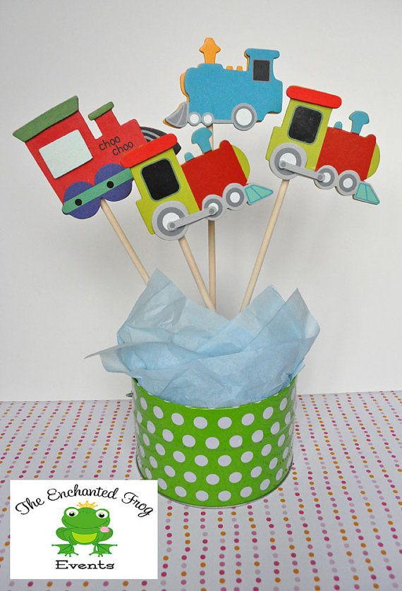 4 Piece Train Party Centerpiece by EnchantedFrogEvents on Etsy, $9.00