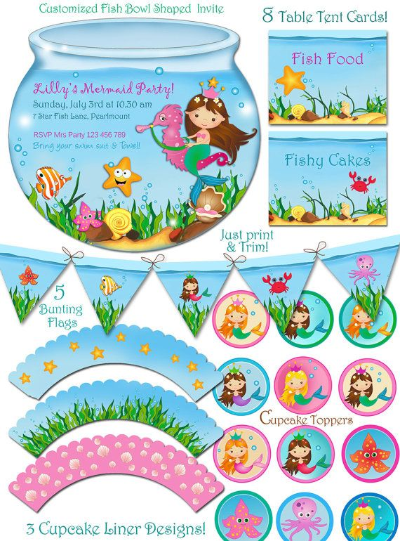 MERMAID PARTY SET, Under The Sea Enchantment -Customized Party Printable set.