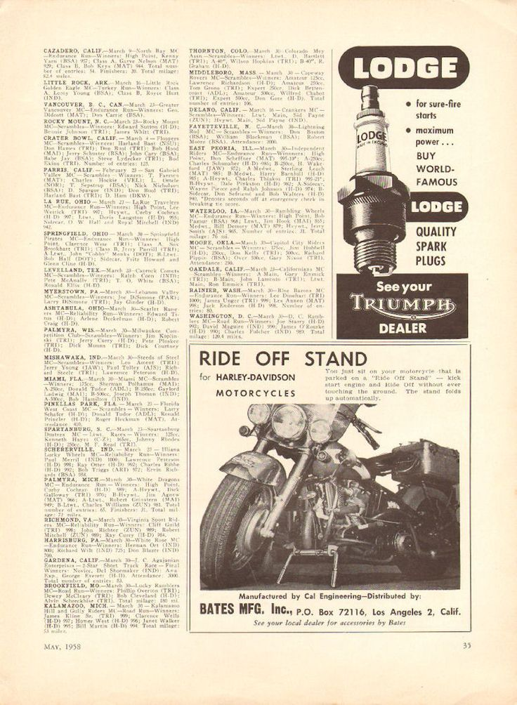 1958 Harley-Davidson Ride off Stand Bates MFG. Small Ad