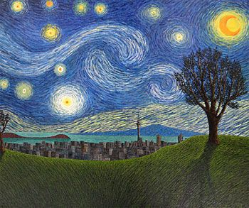 Starry Night, Mt Eden (Auckland, New Zealand). Painted by Justin Summerton