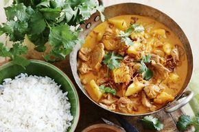 Curry de porc au lait de coco au thermomix. Voici une délicieuse recette de curry de porc au lait de coco. Une recette facile et simple à réaliser au thermomix. Vous pouvez servir ce plat avec du riz!