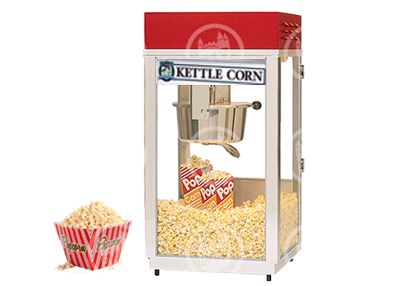 Kettle Corn Machine rental is perfect for almost every event and occasion. Simple to operate, takes minutes to prepare. Includes supplies for 100 servings of kernels and Kettle Corn mix and 6oz popcorn bags. Instructions included, needs table and stand. Call 800 873-8989 to rent.
