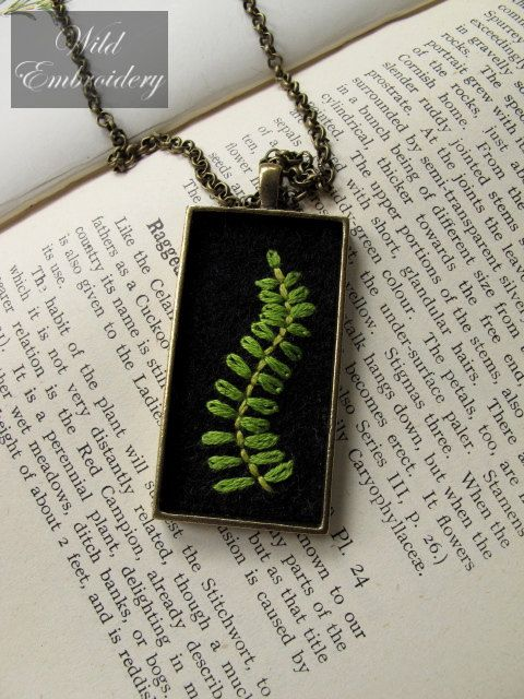 embroidered fern pendant