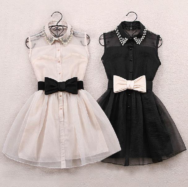 Sweet princess bowknot organza sleeveless dress