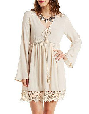 Crochet Trim Tie Neck Peasant Dress: Charlotte Russe