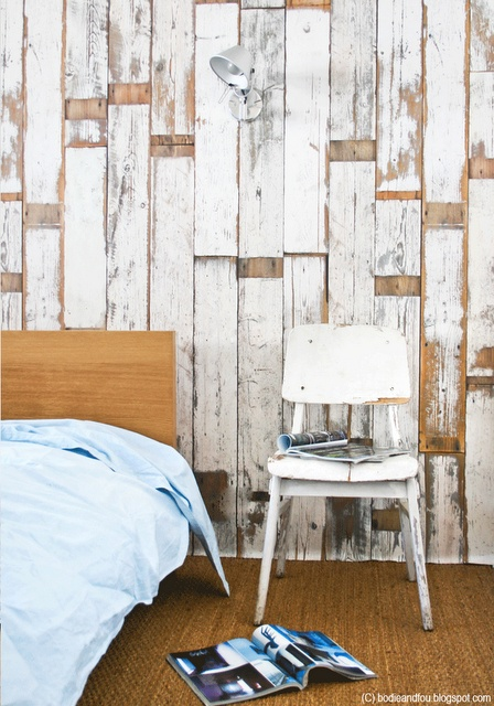 Wood panel wall paper