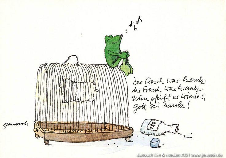 Der Frosch war krank, der Frosch war krank, Nun pfeift er wieder, Gott sei Dank! #Frosch, #Postkarte, #Janosch