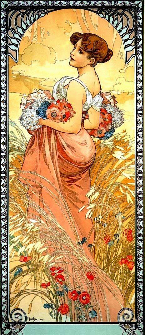 Poppies, wind, field, wild Alfons Mucha