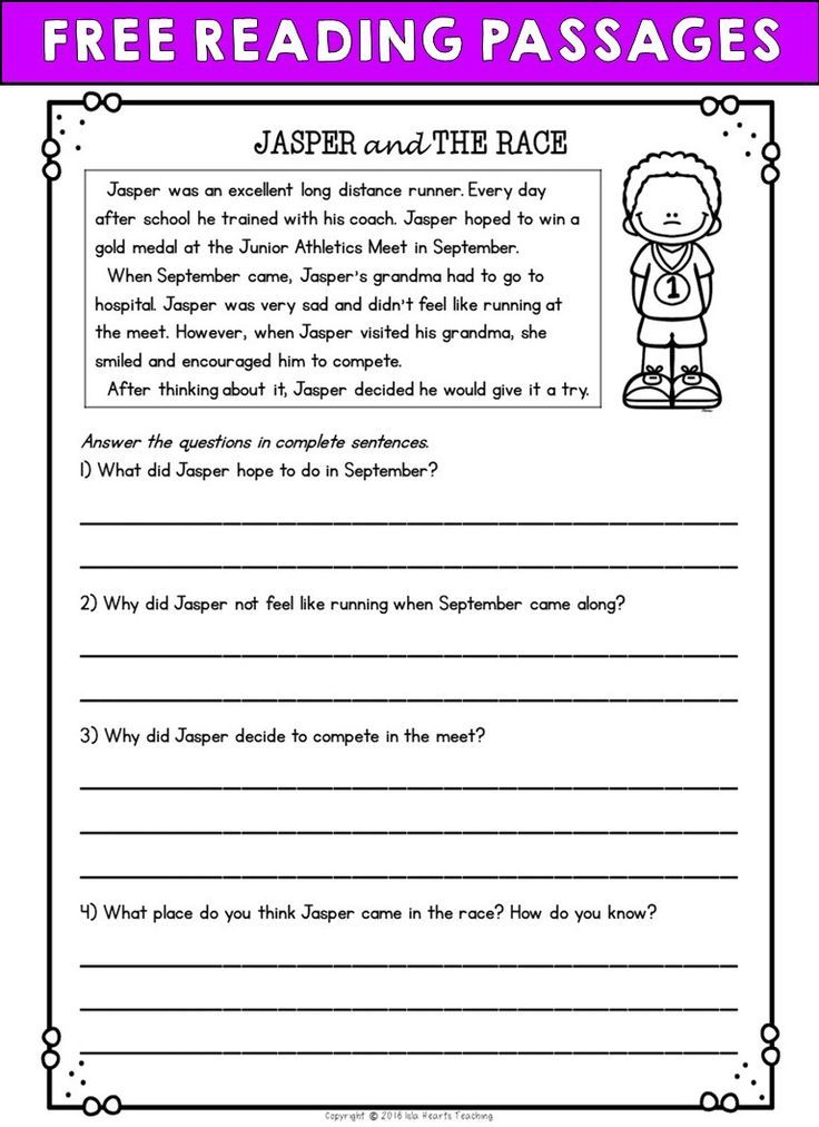 Free Reading Passages Reading Comprehension Worksheets 2nd Grade Reading Worksheets Reading Worksheets Free ela worksheets for grade