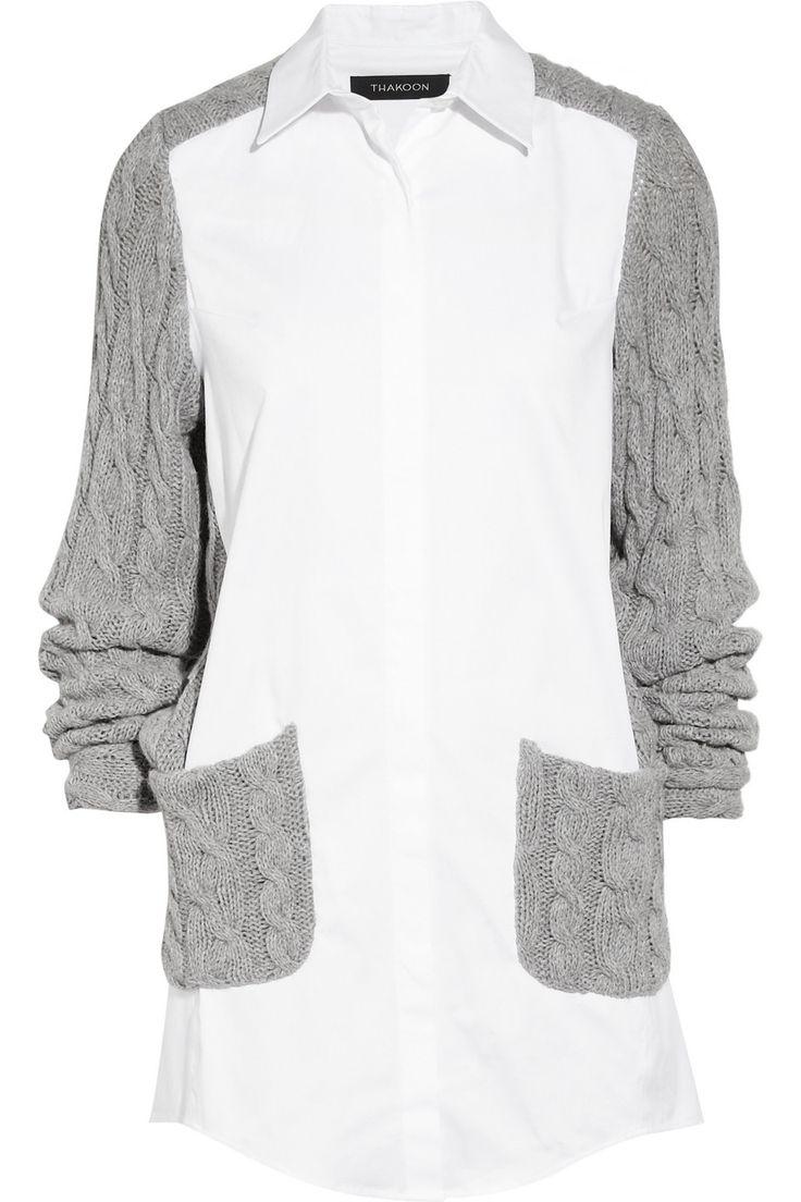 Thakoon|Stretch-cotton and cable-knit shirt dress|NET-A-PORTER.COM