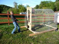 A mobile chicken coop! Distribute that chick poo with little effort!