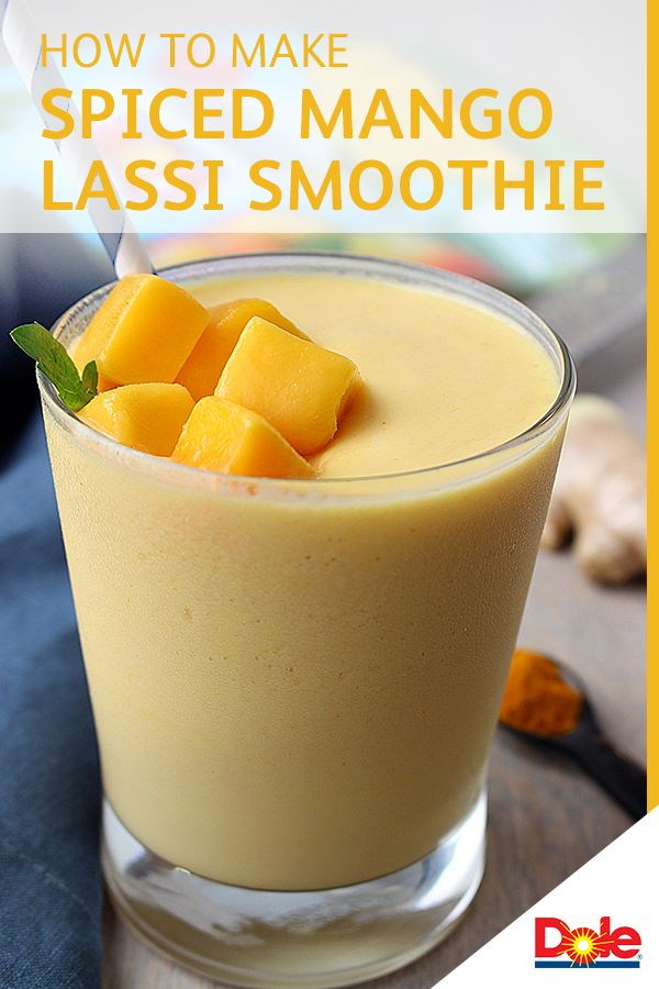 This Spiced Mango Lassi Smoothie is a play on the traditional Indian yogurt-based drink. Instead, this recipe combines spices like turmeric and ginger with frozen DOLE® Mango Chunks for a truly inspired flavor. CLICK for the full recipe.