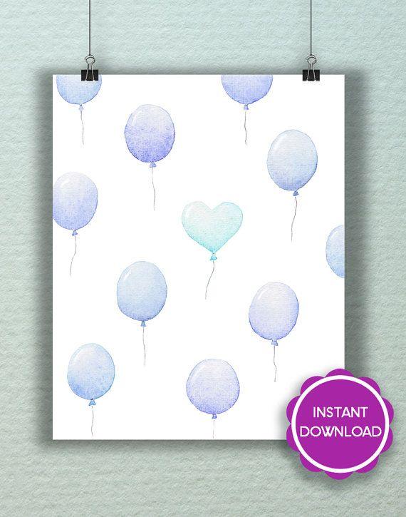 I palloncini blu  stampa quadro casa decorazione di LaSardinaRosa