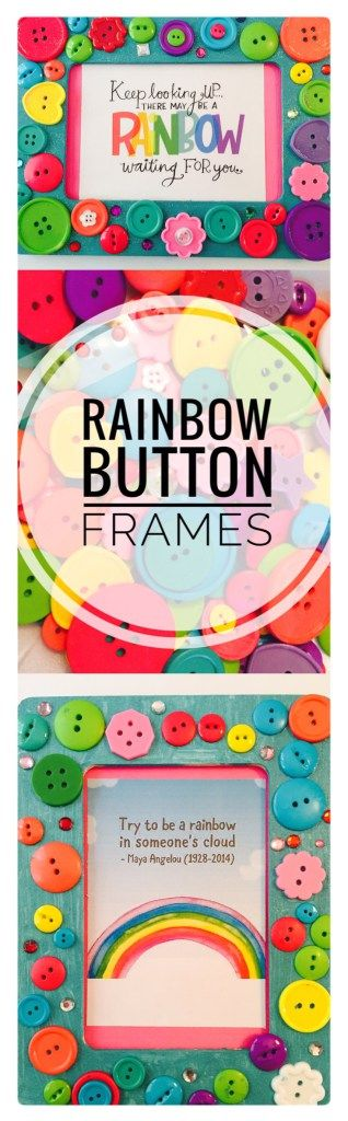 Sparkly Rainbow Button Frame Craft - Would be super cute for a birthday party or summer art camp! Easy craft idea! #rainbowcrafts #buttoncrafts #stpatricksday #kidscrafta