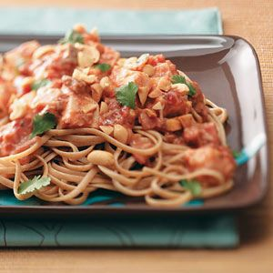 Thai Chicken Pasta Recipe -I try to buy fresh chicken when it's on sale. I cook a big batch in the slow cooker, then shred it and package it in amounts suitable for recipes like this. When I want it, it just needs to be pulled out of the freezer and defrosted! —Jeni Pittard, Canon, Georgia